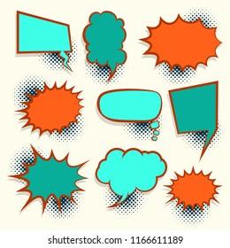 Comic set retro colored empty speech bubble pop art style vector. Cartoon sound box for phrase text. Expression balloon sounds illustration. Advertice template.