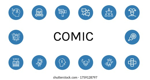 comic simple icons set. Contains such icons as Thinking, Skull, Super, Speech bubble, Speech, Buffoon, Slimming belt, Zombie, Superhero, Patch, can be used for web, mobile and logo