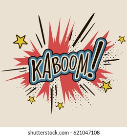 """Comic sound effect cartoon expression with text """"Kaboom!"""". Bubble speech in retro pop art style. Vector illustration."""