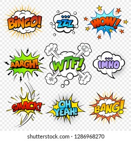 Comic sound speech bubble collection, sound effects in pop art vector style.