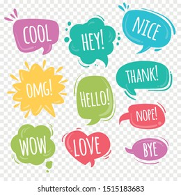Comic sound speech bubble collection, sound effects in pop art vector style. Vector Set. Illustration and graphic elements. Art, speech, cloud