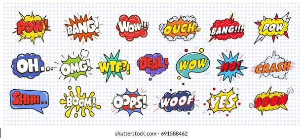 Comic sound speech effect bubbles set isolated on white background illustration. Wow, pow, bang, ouch, crash, woof, no, yes, boom, oh, omg, wtf, deal, oops inscriptions.