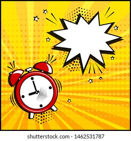 Comic speech bubble and alarm clock on yellow background. Comic sound effect, stars and halftone dots shadow in pop art style. Vector illustration