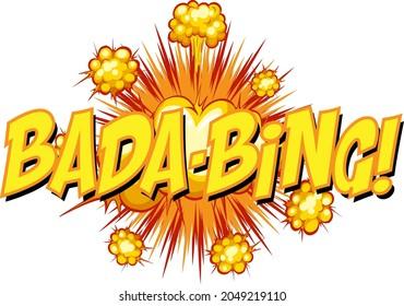 Comic speech bubble with bada-bing text illustration