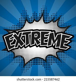 Comic Speech Bubble, Blue Extreme, Vector illustration