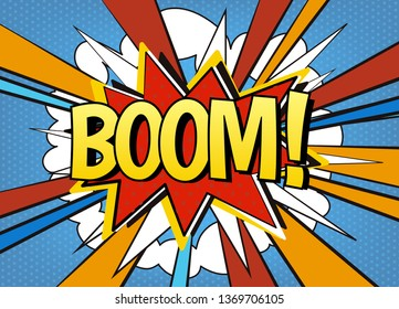 Comic speech bubble Boom! Explosive comic book, comics style vector template, pop art cartoon burst.