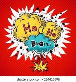 Comic speech bubble colored sketch poster with bomb explosion elements vector illustration