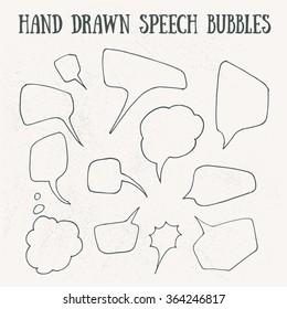 Comic speech bubble hand drawn on vintage background. Vector illustration.