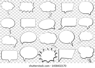 Comic speech bubble isolated sticker vector icon. Empty cartoon bubble speech tag icons. Cloud bubble speech design for text, thought, talk, message, dialogue. Balloon bubble empty speech textbox