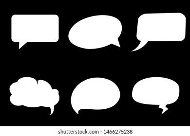 Comic speech bubble isolated sticker vector icon set. Cartoon bubble speech tag icons collection. Cloud bubble speech design for text, talk, message, dialogue. Balloon bubble speech textbox banner