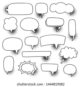 comic speech bubble set with halftone shadow vector illustration