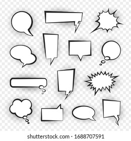 Comic speech bubble set, talk and chat design. Blank discussion collection. Vector speech bubble illustration on white background