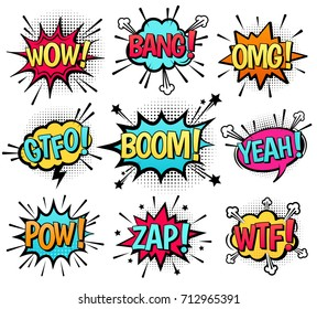 Comic speech bubble set with  text: Wow, Bang, Omg, Gtfo, Boom, Yeah, Pow, Zap, Wtf. Vector cartoon explosions with different emotions isolated on white background.