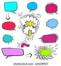 Comic Speech Bubble Set, Vector illustration, isolated on white