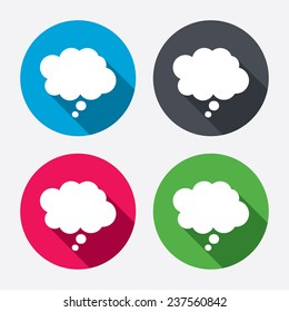 Comic speech bubble sign icon. Chat think symbol. Circle buttons with long shadow. 4 icons set. Vector