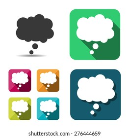 Comic speech bubble sign icon. Chat think symbol. Flat button with shadow. website navigation. Vector.