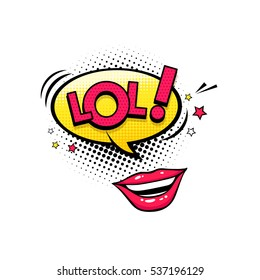 Comic speech bubble with stars, emotional text Lol and open female mouth laughing. Vector bright dynamic cartoon illustration isolated on white background.