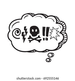 Comic speech bubble with swear words symbols . Doodle speech bubble
