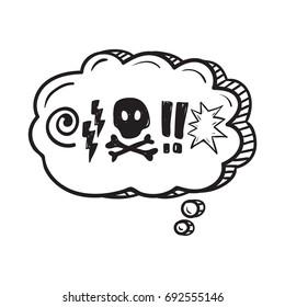 Comic speech bubble with swear words symbols . Doodle speech bubble