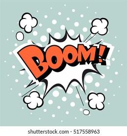Comic speech bubble, vector cartoon on a light blue background. Boom!