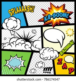 Comic speech bubbles. Comic Book page elements. Comic clouds effects collection. Vector graphic design illustration