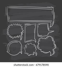 comic speech bubbles doodle set