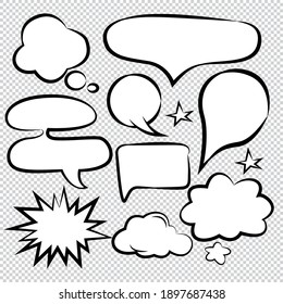 Comic Speech Bubbles Icons Collection color background Vector illustration