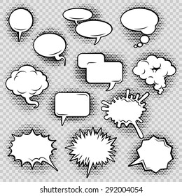Comic speech bubbles icons collection of cloud oval rectangle and jagged shape contours abstract isolated vector illustration