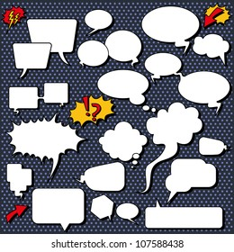 Comic speech bubbles. Illustrations of comic/cartoon style speech bubbles, shapes and icons.