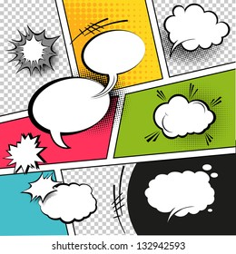 Comic Speech Bubbles on a comic strip background, vector illustration