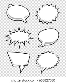 Comic speech bubbles on transparency background. Cartoon clouds for text. Vector illustration.