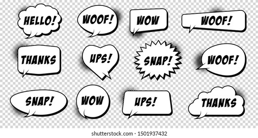 Comic speech bubbles pop art set with typography.  Comic sound effects in pop art style. Vector Illustration