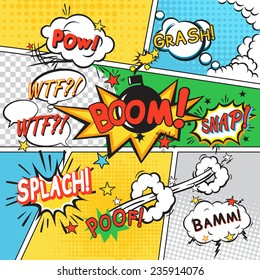 Comic speech bubbles in pop art style on colored cartoon background vector illustration