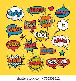 Comic speech bubbles pop art set with typography