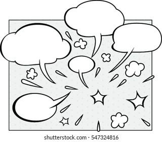 Comic  speech bubbles in retro style set vector illustration.