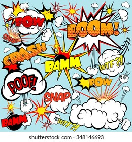 Comic speech bubbles set with bombs and explosions signs vector illustration