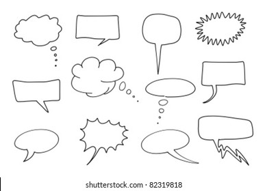 Comic speech bubbles set. Chat and thought illustration collection.
