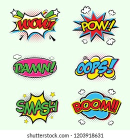 Comic speech bubbles set with different emotions and text Wow, Omg, Gtfo, Oops, Damn, Boom, Pow, Smash, Bang, Yeah, Oh, Wtf . Vector bright dynamic cartoon illustrations isolated on green background