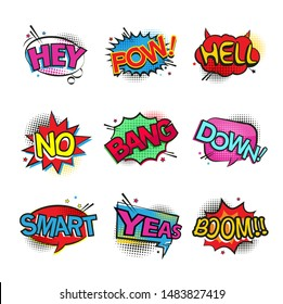 Comic speech bubbles set with different emotions or set of comic text, pop art style. Vector bright dynamic cartoon illustrations.