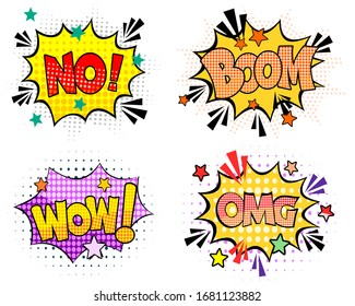 Comic speech bubbles set with different emotions and text Wow, Omg, No, Boom.