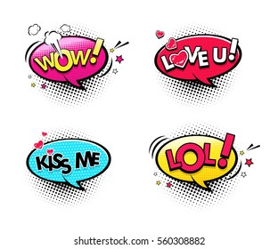 Comic speech bubbles set with different emotions and text Wow, Lol, Love you, Kiss me. Vector bright dynamic cartoon illustrations isolated on white background