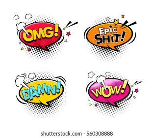 Comic speech bubbles set with different emotions and text Wow, Oh my God, Epic shit, Damn. Vector colorful dynamic cartoon illustrations isolated on white background
