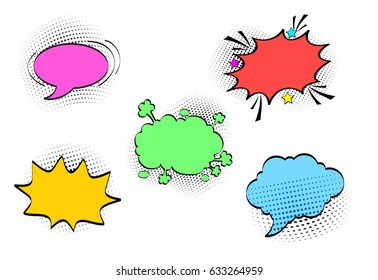 Comic speech bubbles set with different emotions and colours. Vector bright dynamic cartoon illustrations isolated on white background.