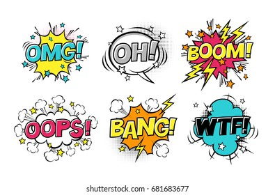 Comic speech bubbles set with different emotions and text BOOM, OMG, OH, BANG, OOPS, WTF. Vector cartoon illustrations isolated on white. Halftones, stars and other elements in separated layers.