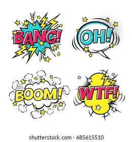 Comic speech bubbles set with different emotions and text BOOM, OH, BANG, WTF. Vector cartoon illustrations isolated on white background. Halftones, stars and other elements in separated layers.
