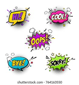 Comic speech bubbles set with different emotions and text Hi, Cool, Oops, Bye, Sorry. Vector colorful dynamic expressional cartoon illustrations isolated on white background.