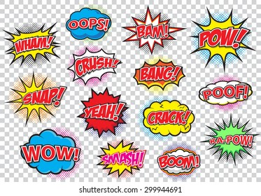 Comic speech bubbles set, comic wording sound effect set design for comic background, comic strip