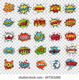 Comic-Sprachblasen oder Soundreplikationen für Kaboom-Explosion, Crash and Wham, Oops und oh, Pow und Boom-Bombe, Snap und z-z-z, Omog und wütend rund. Onomatopoetien und Ausrufethema