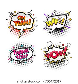Comic speech bubbles and splashes set with different emotions and text Wow, Oh Yeah,  Thank you, Wtf. Vector bright dynamic cartoon illustrations isolated on white background.