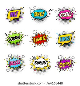 Comic speech bubbles and splashes set with different emotions and text Hi, Bye, Cool, Sorry, Like, Best, Super, Oops. Vector bright dynamic cartoon illustrations isolated on white background.